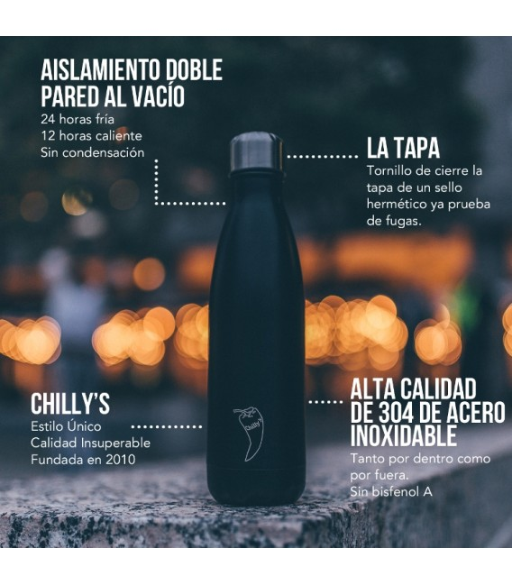 BOTELLA ISOTÉRMICA CHILLY´S 500 ML NEGRO MATE