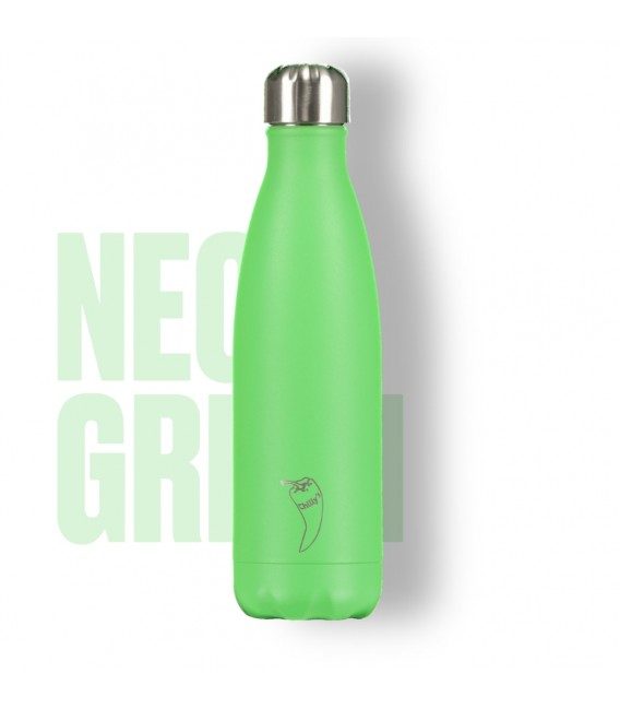 BOTELLA ISOTÉRMICA CHILLY´S 500 ML NEON VERDE