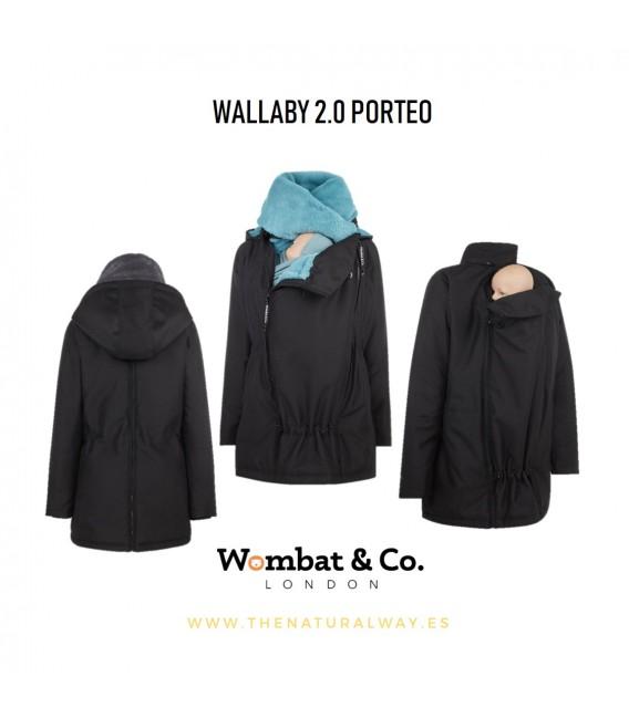 ABRIGO DE PORTEO Y EMBARAZO WALLABY 2.0 NEGRO CUELLO AZUL